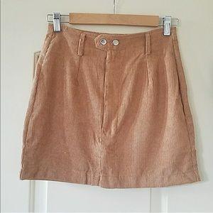 Tan Corduroy Button ZIp Up Mini Skirt